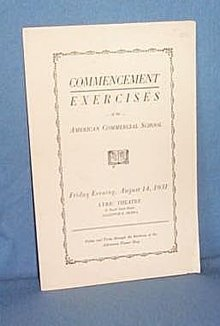 Commencement Exercises of the American Commercial School, Allentown PA, August 14, 1931 program