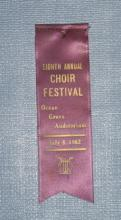 Eighth Annual Choir Festival, Ocean Grove Auditorium, July 8, 1962 ribbon