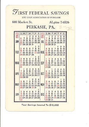 1963 First Federal Savings and Loan Association of Perkasie (PA) pocket calendar