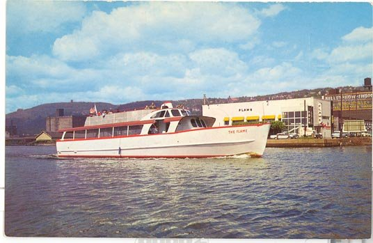 The Flame excursion boat, Duluth, MN postcard