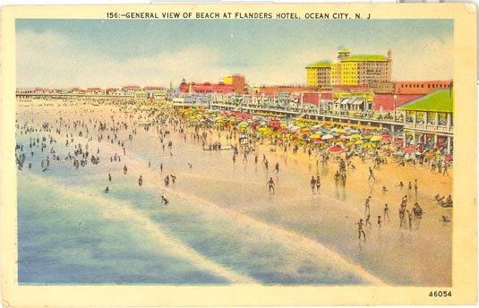 General Beach View at The Flanders hotel, Ocean City NJ postcard
