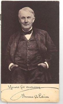 Edison Business Phonograph advertising card featuring photo of Thomas Edison