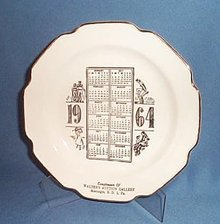 1964 Walter's Auction Gallery, Macungie, PA calendar plate