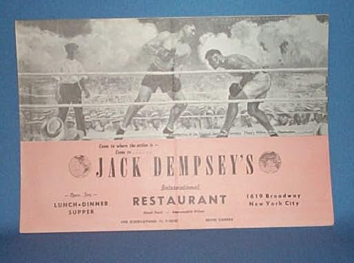 Menu from Jack Dempsey's International Restaurant, 1619 Broadway, New York City