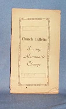 1919 Church Bulletin of the Swamp Mennonite Charge, Quakertown PA