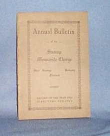 1922 Church Bulletin of the Swamp Mennonite Charge, Quakertown PA