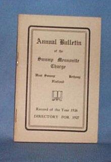 1926 Church Bulletin of the Swamp Mennonite Charge, Quakertown PA