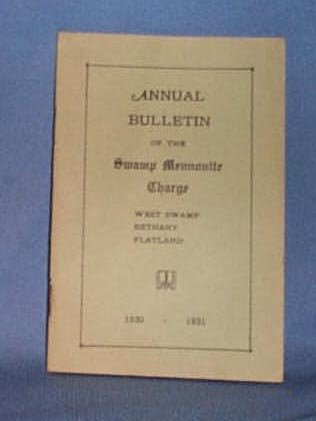 1930 Church Bulletin of the Swamp Mennonite Charge, Quakertown PA