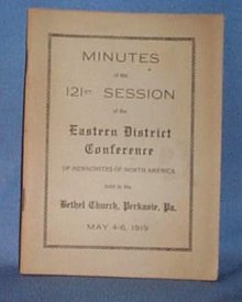 Minutes of the 121st Session of the Eastern District Conference of Mennonites of North America