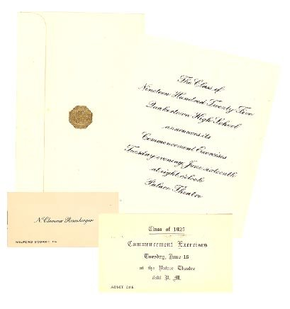 1925 Quakertown (PA) High School Commencement announcement and admission tickets