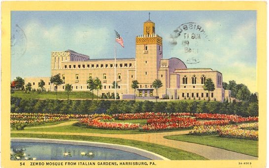 Zembo Mosque from Italian Gardens, Harrisburg PA color postcard