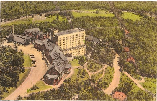Aerial View of Pocono Manor Inn, Pocono Manor, PA color postcard