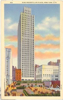Nine Rockefeller Plaza, New York City color postcard