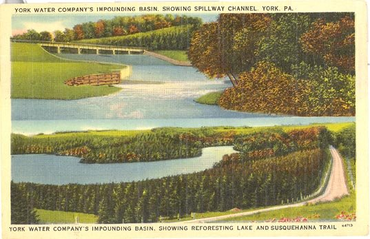 York Water Company's Impounding Basin, York PA color postcard