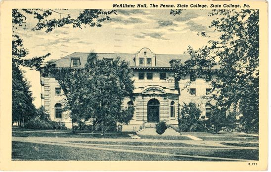 McAllister Hall, Pennsylvania State College, State College, PA black/white postcard