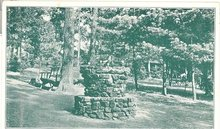The Drinking Fountain - Camp Kanesatake, PA sepia tone postcard