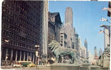 Michigan Avenue Lions, Chicago color photo postcard