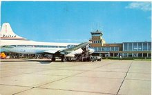 United Airlines airplane at Bendix Field, South Bend Indiana color photo postcard