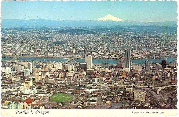Portland, Oregon aerial color postcard