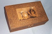 Brass-washed tin-clad wooden vanity box/ jewelry box