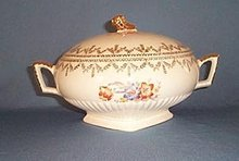 Royal China, Sebring Ohio Painted Flowers covered casserole