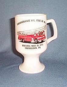 Perseverance Vol. Fire Co., Souderton, PA  milk glass mug