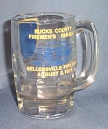 100th Anniversary incorporation of Sellersville (PA) and Bucks County Firemen's Parade glass mug