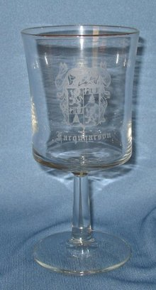 Farquharson Coat of Arms embossed wine goblet