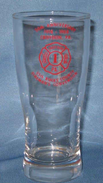 Croydon (PA) Fire Co. No. 1 50th Anniversary glass