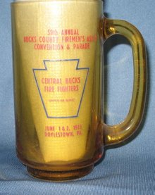 59th Annual Bucks County Firemen's Ass'n Convention and Parde, Doylestown, PA amber glass mug