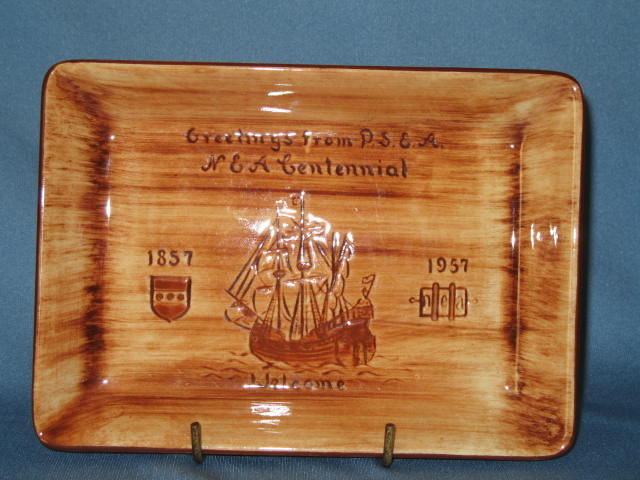 Pennsbury Pottery tray: Greetings from P.S.E.A. / N.E.A. Centennial