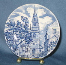 Historic Colonial Scenes Liberty Blue cup plate
