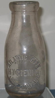 Atlantic City Hygienic Milk Company one pint milk bottle