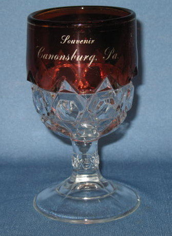 Ruby glass goblet acid etched