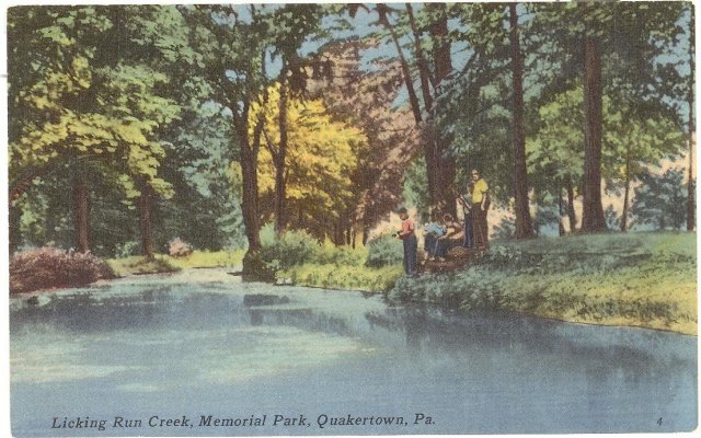 Licking Run Creek, Memorial Park, Quakertown, PA color postcard