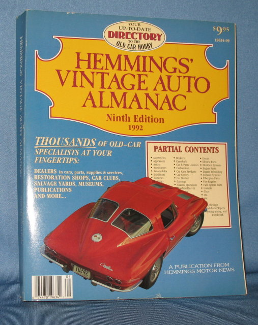 Hemmings' Vintage Auto Almanac, Ninth Edition, 1992