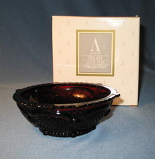 Avon 1876 Cape Cod Collection ruby red dessert bowl, new in box