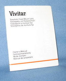 Vivitar Telephoto Fixed Mount Lens Owner's Manual