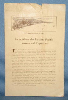 Fatcs About the Panama-Pacific International Exposition, San Francisco, 1915, 4 page paper brochure