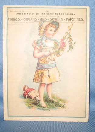 Miller & Hutchinson, 807 Hamilton Street, Allentown PA piano, organ, and sewing machine advertising card