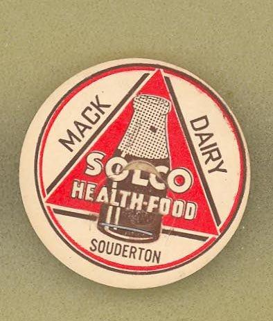 Mack Dairy, Souderton PA SOLCO Health Food  milk bottle cap