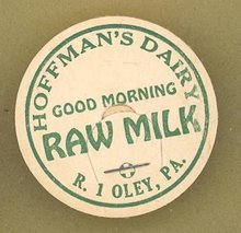 Hoffman's Dairy, Oley PA raw  milk bottle cap
