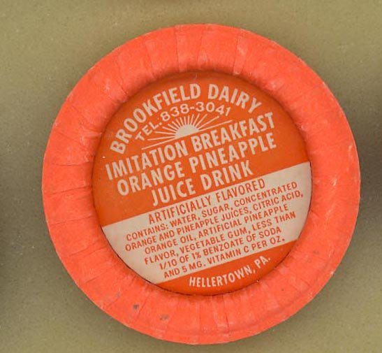 Brookfield Dairy, Hellertown PA orange pineapple juice drink bottle cap