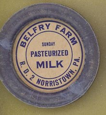 Belfry Farm, Norristown PA Sunday Pasteurized Milk bottle cap