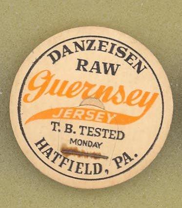 Danzeisen Raw Guernsey Jersey milk bottle cap, Hatfield PA