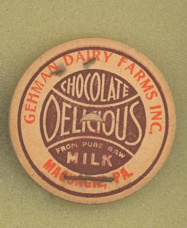 Gehman Dairy Farms, Macungie PA chocolate milk bottle cap