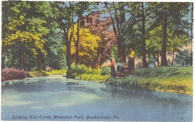 Licking Run Creek, Memorial Park, Quakertown Pennsylvania  color postcard