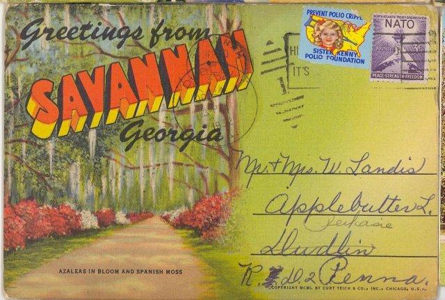 Postcard folio packet of Savannah Georgia