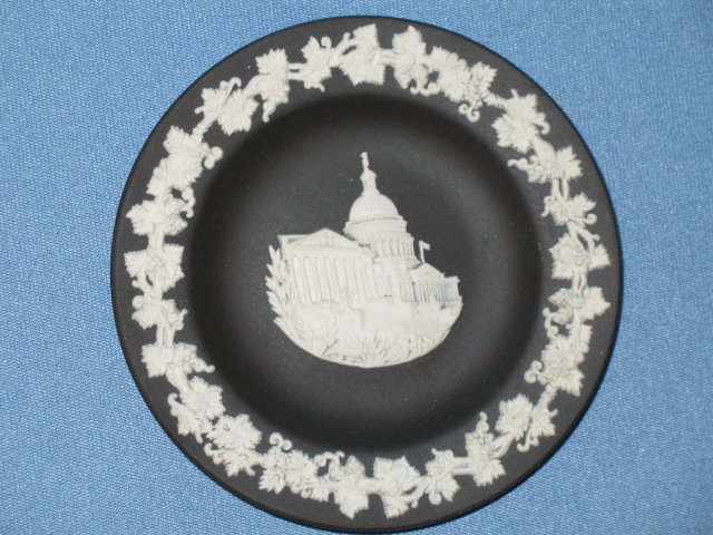 Wedgwood white on black United States Capitol round tray