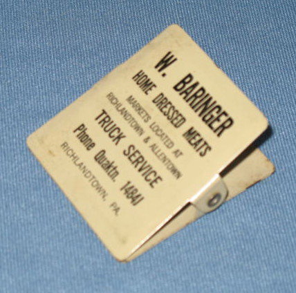 W. Baringer Home Dressed Meats, Richlandtown PA paper clip
